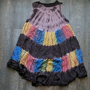 Boho India Boutique Dress Embroidered Tie Dye